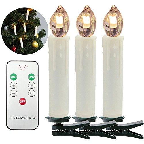 HJ® 30er Weinachten LED Kerzen Lichterkette Weihnachtskerzen Mit  Fernbedienung Kabellos LED Mini Christbaumkerzen, Dimmbar
